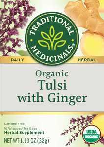 Traditional Medicinals Organic Tulsi Ginger Herbal Tea Bags, 16 Count