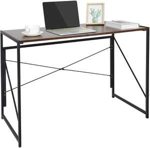 ZenStyle Folding Computer Writing Desk Wood and Metal Study Desk, PC Laptop Home Office Study Table
