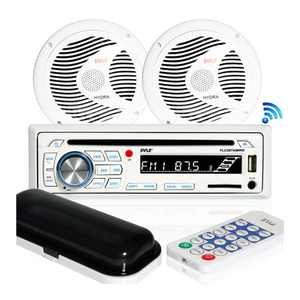Pyle Marine Bluetooth Stereo Receiver and 6.5 Inch Speaker Pair with Remote, White