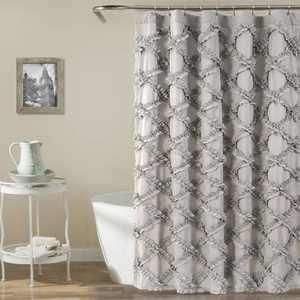 Lush Decor Ruffle Diamond Textured Polyester Shower Curtain, 72x72, Gray, Single