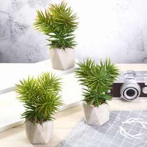 Efavormart Set of 3 | 8 Assorted Spiky Crassula Artificial Faux Succulent Mini Green Plants in Cement Pot