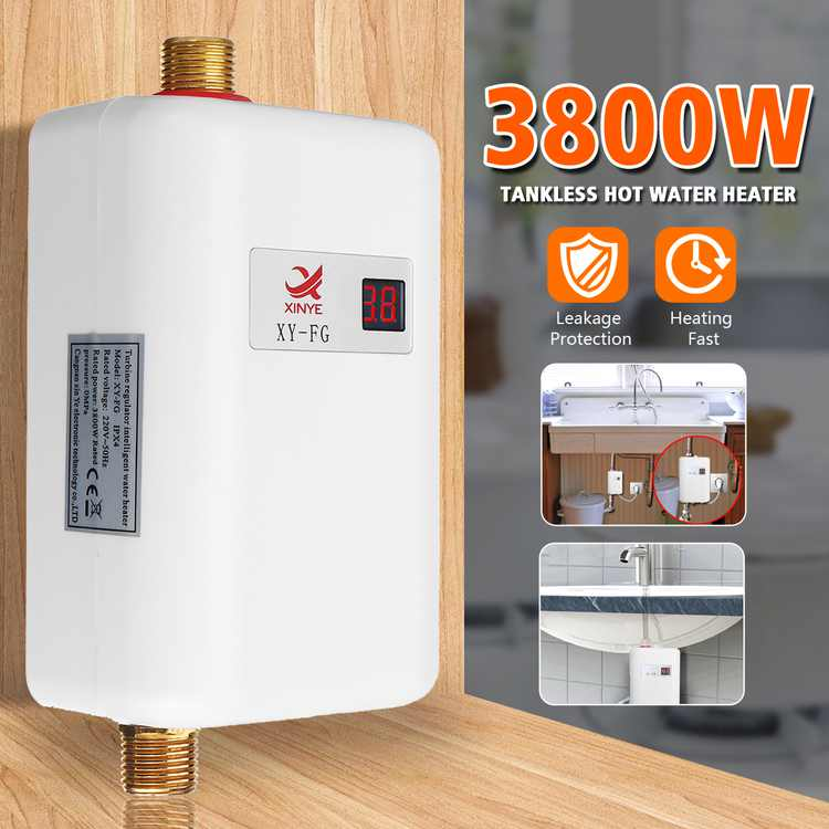 110/220V 3.8KW Electric Tankless Instant Hot Water Heater for Bathroom Kitchen