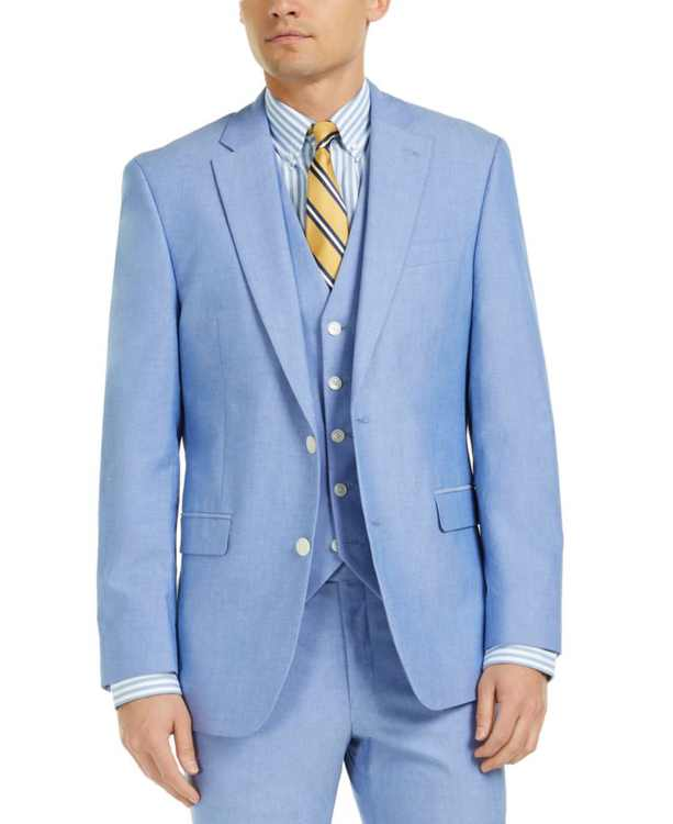 Men's Modern-Fit Flex Stretch Chambray Suit Jackets