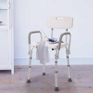 Jaxpety 6-Height Adjustable Medical Shower Chair Bathtub Bench Bath Seat Stool With Armrest Back