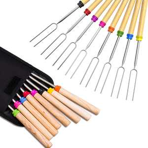 """32"""" Marshmallow Roasting Sticks Set of 8 BBQ Skewers, Smores & Hot Dog Fork with Wooden Handle and Carrying Pouch Great for Outdoor Barbecue Grill and Campfire Pit"""