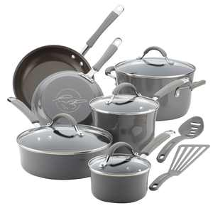 Rachael Ray 12-Piece Cucina Nonstick Pots and Pans Set/Cookware Set, Sea Salt Grey
