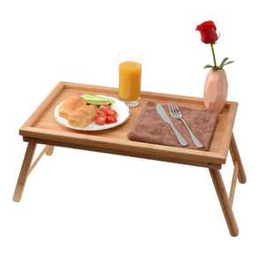 UBesGoo Foldable Breakfast Tray| Large Organic Bamboo Folding Serving Tray, Laptop Desk, Bed Table, Lap Desk| 100% Natural and Eco-Friendly Tray