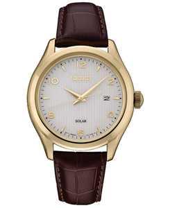 Men's Solar Essentials Brown Leather Strap Watch 42mm
