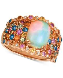 Rainbow Multi-Gemstone (3-1/6 ct. t.w.) & Diamond Accent Ring in 14k Rose Gold