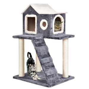 Gymax 36-in Cat Tree & Condo Scratching Post Tower, Gray