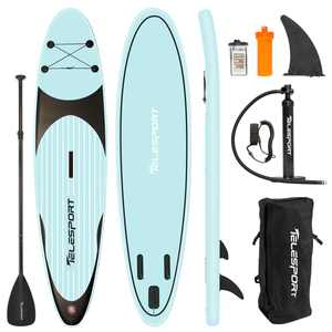 Telesport Inflatable Stand Up Paddle Board 10.6ft with SUP Accessories Carry Bag, Adjustable Paddles Non-Slip Deck, Leash and Fin for Padding Surf