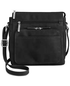 Nappa Leather Front Zip Crossbody, Created for Macy's