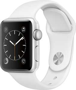 Geek Squad Certified Refurbished Apple Watch Series 2 38mm Silver Aluminum Case White Sport Band - Silver Aluminum
