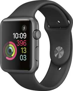 Geek Squad Certified Refurbished Apple Watch Series 1 42mm Space Gray Aluminum Case Black Sport Band - Space Gray Aluminum