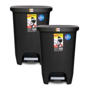 Glad Plastic Step Kitchen Trash Can, 13 gal, Black, 2 Pack