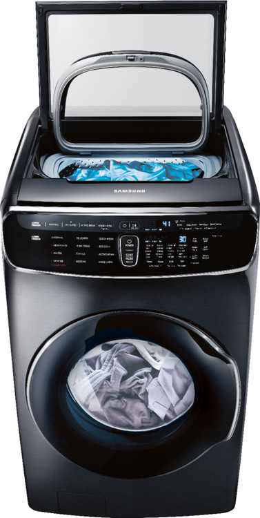 Samsung - 6.0 Cu. Ft. High Efficiency Smart Front Load Washer with Steam and FlexWash - Black stainless steel