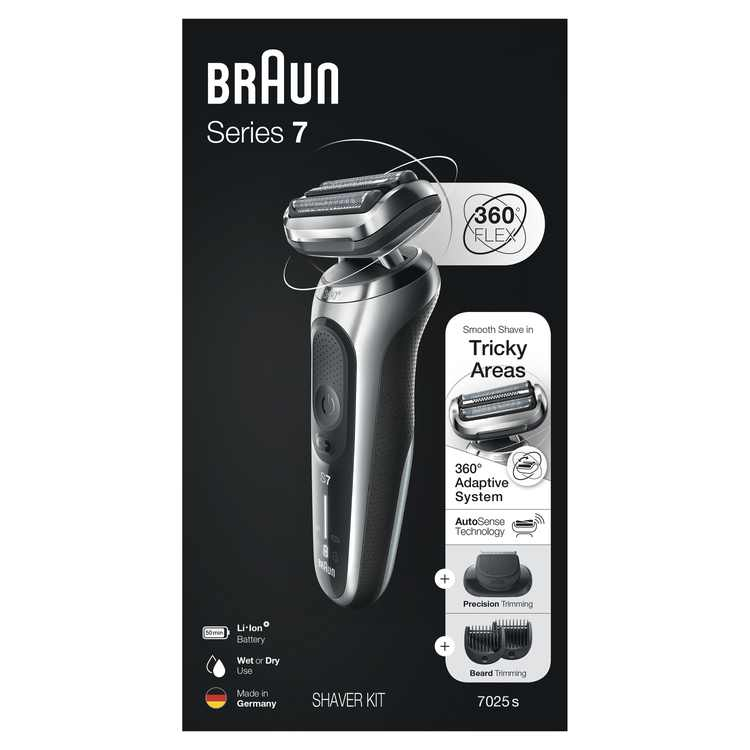 Braun Series 7 7025s Flex Electric Razor for Men with Beard Trimmer, Wet & Dry, Rechargeable, Cordless Foil Shaver, Silver