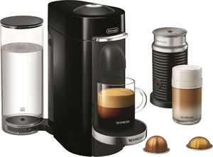 Nespresso - VertuoPlus Deluxe Coffee Maker and Espresso Machine with Aeroccino Milk Frother by DeLonghi - Piano Black