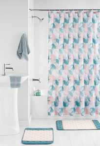 Mainstays Geometric Shower Curtain 15 Piece Bath Set