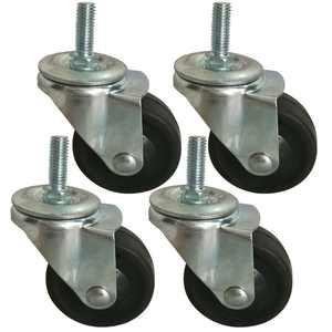 BIGLAND 4x 3 inch Swivel Stem Caster Wheels for Wire Shelving Racks Rubber