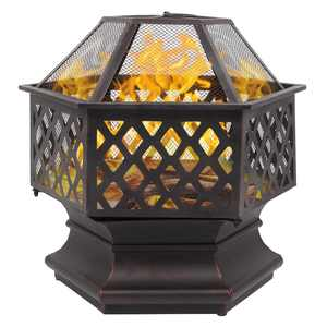 """Zimtown Outdoor 22"""" Fire Pit with Cover for Patio,Backyard,Poolside"""