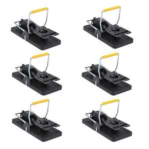 ALEKO 6MTR02S Easy to Use Pest Control Snap Trap - Black - Lot of 6