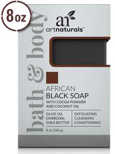 Artnaturals African Black Soap Bar Acne Treatment - Exfoliating, Cleansing and Conditioning Face and Body Wash (8 Oz / 226g)