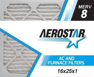 16x25x1 AC and Furnace Air Filter by Aerostar, Model: 16X25X1 M08 - MERV 8, Box of 6