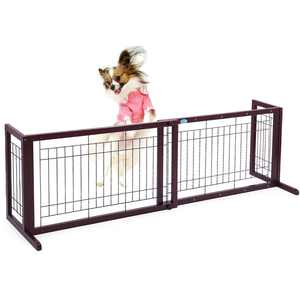 Jaxpety Indoor Adjustable Free Standing Dog Gate, Wood
