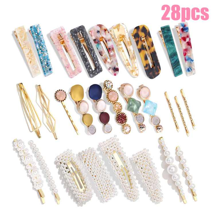 28 Pcs Fashion Korean Pearl and Acrylic Resin Hair Clips, Handmade Hair Barrettes Alligator Bobby Pins, Geometric Hairpins Elegant Hair Accessories, Gifts for Women Ladies Girls Headwear Styling Tools