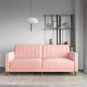 DHP Pin Tufted Transitional Futon, Convertible Sofa Couch, Pink Velvet