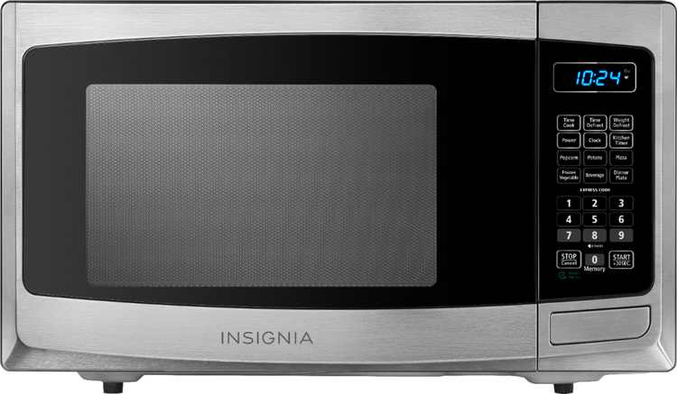 Insignia - 0.9 Cu. Ft. Compact Microwave - Stainless steel