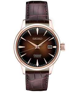 Men's Automatic Presage Brown Leather Strap Watch 40.5mm
