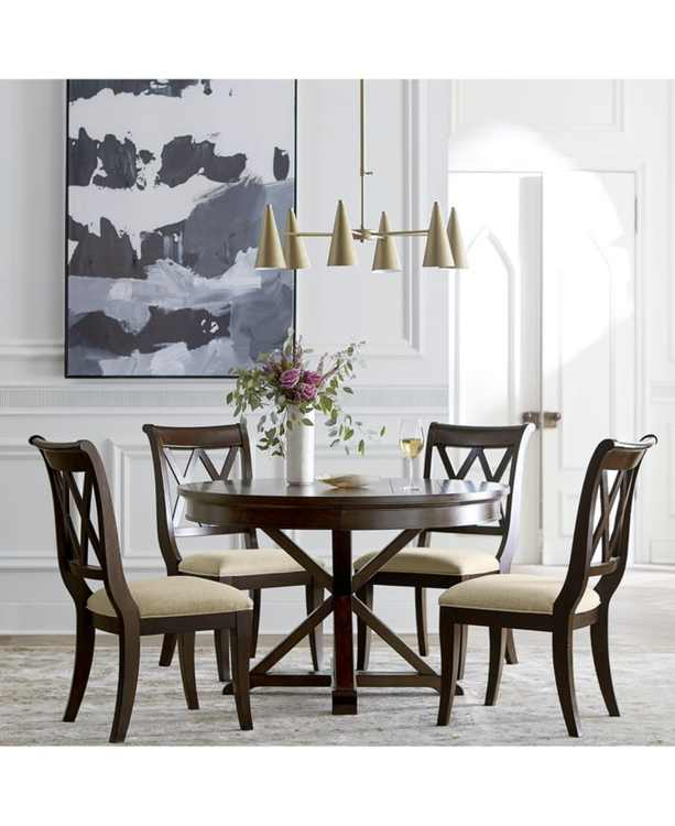 Baker Street Round Expandable Dining 5-Pc. Set (Dining Table & 4 Side Chairs), Created for Macy's
