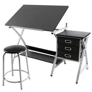SmileMart Adjustable Drafting Table Drawing/Craft Art Desk for Adults w/Stool Studio Work Station