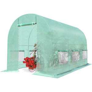 Costway Walk-in Greenhouse Steel Frame Backyard Grow Tents 6 Windows