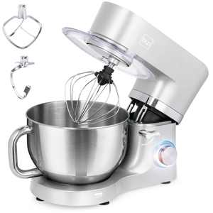 Best Choice Products 6.3qt 660W 6-Speed Tilt-Head Stainless Steel Kitchen Mixer w/ 3 Attachments, Splash Guard - Silver
