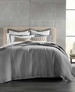 CLOSEOUT! Grey Linen Bedding Collection, Created for Macy's
