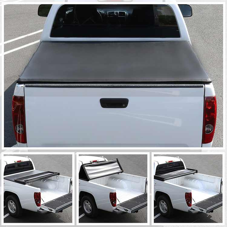 Spec-D Tuning 5.5ft Short Bed Pickup Tri-Fold Soft Tonneau Cover for 2015-2018 Ford F150 SuperCrew Cab