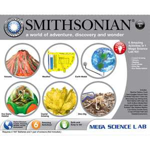 Smithsonian Mega Science Lab 6 Kits in One ? Volcanoes, Weather, Crystal Growing, Dinosaurs, Microscopic Science and Space.