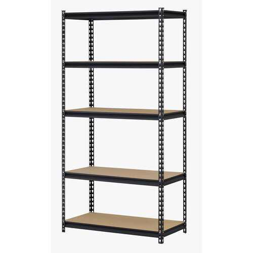 "Muscle Rack 36""W x 18""D x 72""H Five-Shelf Steel Shelving, Black, Supports up to 4,000 lbs"