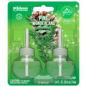 Glade PlugIns Refill 2 CT, Pine Wonderland, 1.34 FL. OZ. Total, Scented Oil Air Freshener Infused with Essential Oils