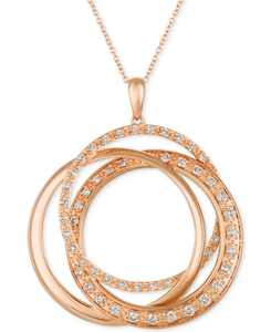 "Strawberry & Nude Diamond Interlocking Rings 18"" Pendant Necklace (1 ct. t.w.) in 14k Rose, Yellow or White Gold"