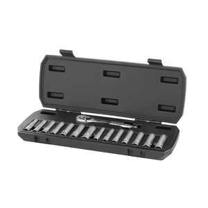 HART 15-Piece 1/4-inch Drive Deep Socket Set with Ratchet, Chrome