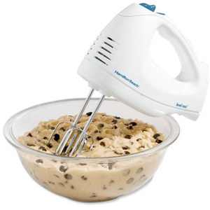 Hamilton Beach 6-Speed Hand Mixer with Snap-On Case, White