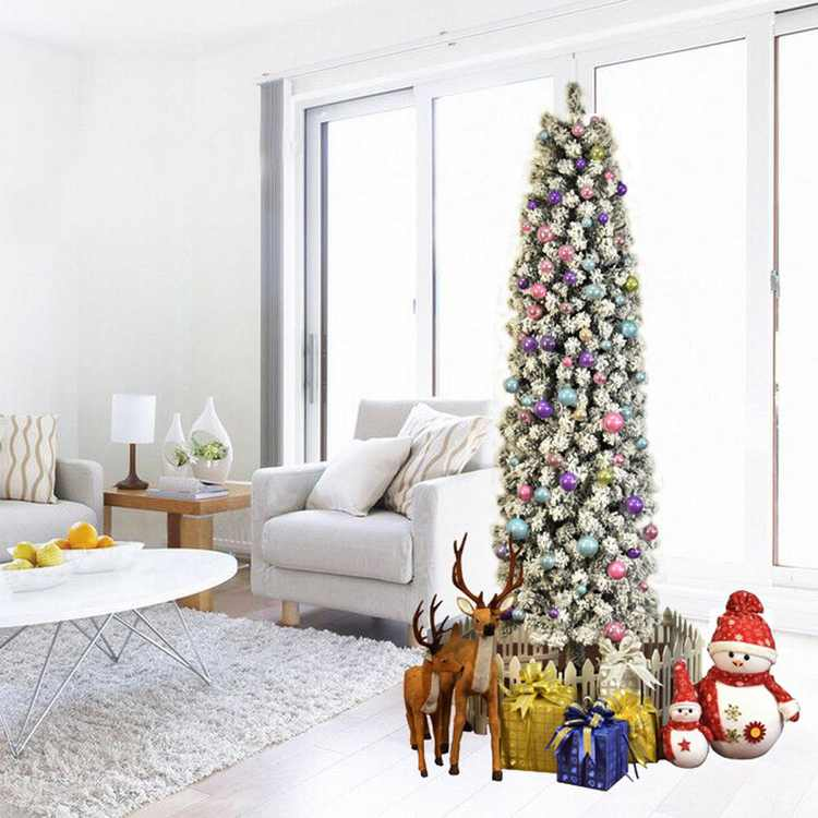 UBesGoo 7.5ft Snow Flocked Artificial Pencil Christmas Tree, with Durable Stand, for Holiday Decoration