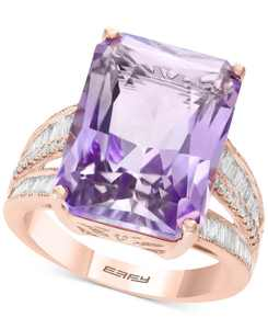 EFFY Pink Amethyst (13 ct. t.w.) & Diamond (3/8 ct. t.w.) in 14k Yellow Gold (Also Available in Blue Topaz, Citrine, and Green Quartz)