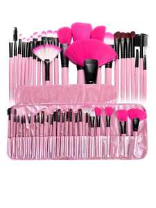 Zodaca Makeup Brush Set Kit with Cosmetic Bag, Pink, 24 Pcs