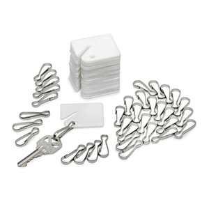 Adiroffice White Keychain Key Ring ID Label Plastic Key Tags (30 Pack)