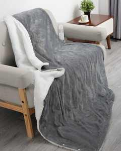 """Maxkare 50"""" x 60"""" Electric Heated Blanket Flannel & Sherpa Fast Heated Throw Blanket with 6 Heating Levels & 5 Auto-Off Timing Settings, Machine Washable, Grey & White"""